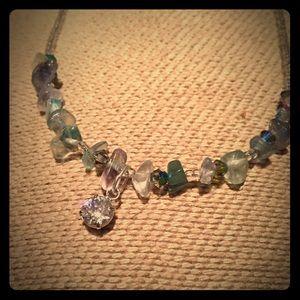 Swarovski crystal and natural gem stone necklace